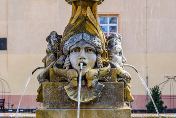 detail of a fountain situated on the main courtyard of podebrady chateau in czech republic.