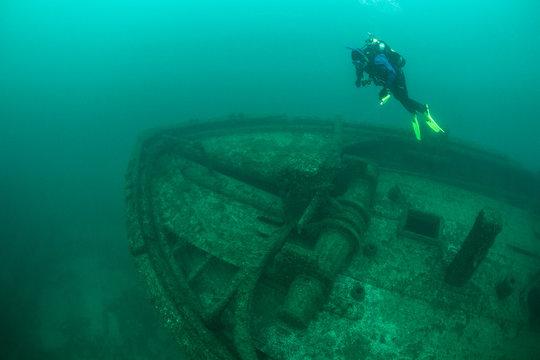Diver and Shipwreck in Lake Michigan