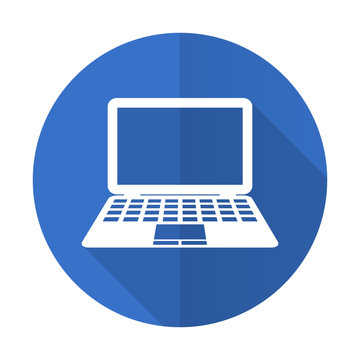 computer blue flat desgn icon with shadow on white background