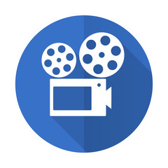 movie blue flat desgn icon with shadow on white background