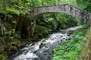 Granit bridge in valley river Bode at Harz mountains, Germany