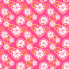 Abstract citrus fruit seamless pattern. illustration
