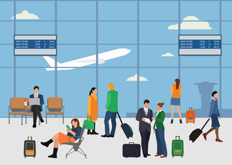 People in airport flat style design. Man and woman talking at the airport. Business people in airport. Business travel concept