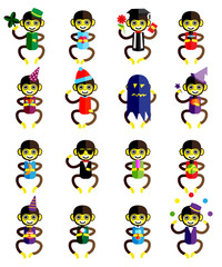 Set of funny monkey icons cartoon isolated on white background.