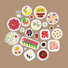 Restaurant flat vector top view Japanese food: lobster fish dish