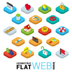 Web surfing mobile app flat 3d icons: window like favorite lock