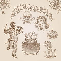 Halloween party engraving hand drawn template vintage vector