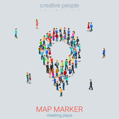 Map pin sign shape micro people crowd flat 3d vector isometric