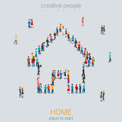 Home sign shape people crowd flat 3d isometric vector