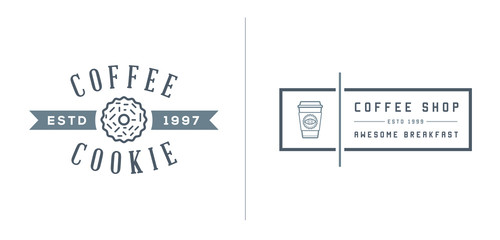 Set of Vector Coffee Logotype Templates and Coffee Accessories Illustration with Incorporated Icons with Fictitious Names