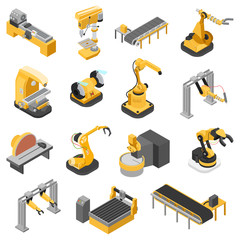 Heavy industry machinery assembly line flat 3d isometric vector
