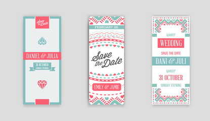 Set of Vector Design Awesome Wedding Invitation Template with Mandala or Doodles Theme. Ideal for Save The Date, Christmas Eve, Mothers Day, Valentines Day, Birthday cards, Invitations or Baby Shower