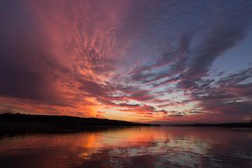 Sunset sky reflection