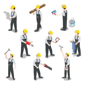 Builder carpenter construction worker flat 3d isometric vector