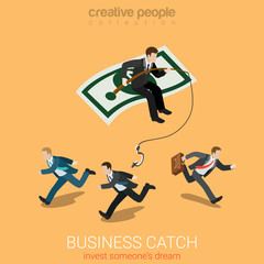 Business catch invest dream flat 3d vector isometric