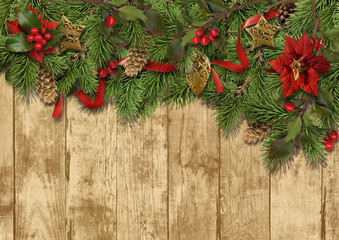Christmas border decoration on the wooden background