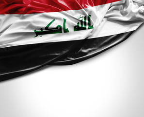 Iraq waving flag on white background