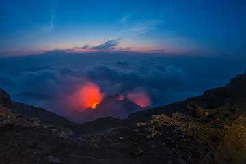 Spectacular Stromboli volcano eruption during the night