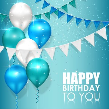 Happy birthday colors on blue water background
