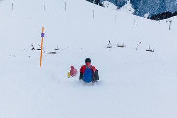 Winter in the swiss alps. sledding in winter.