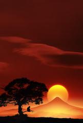 富士山と猿