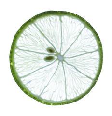 slice of fresh lime on white background