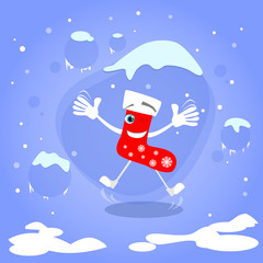 Christmas Red Socks Jump Up Excited Smile Cartoon Character