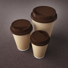 Coffe cups isolated. 3d rendering