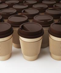 Coffe cups . 3d rendering
