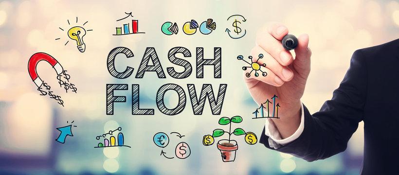 Businessman drawing Cash Flow concept