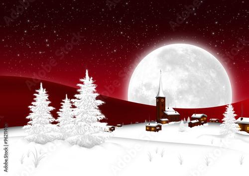 Weihnachtskarte - Winterlandschaft mit Bergdorf und Vollmond ...