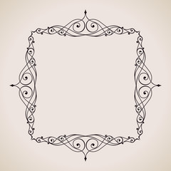 Calligraphic frame and page decoration. Vector vintage illustration