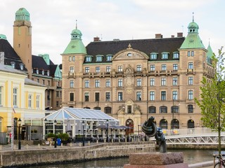 Downtown Malmo with old and modern buildings, Malmo, Sweden