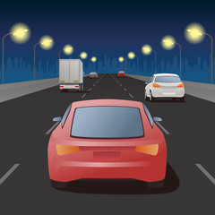 night highway, street lights and vehicles, vector illustration