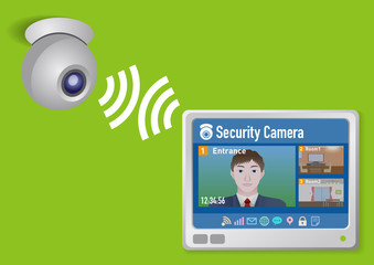 Intercommunication system, Smart home display and wireless security camera, vector illustration