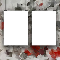 Two hanged paper sheets with clips on abstract squared background