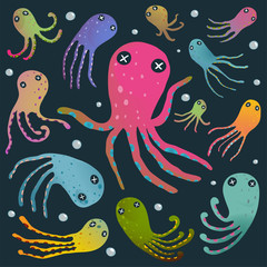 Colorful Octopus Isolated on Black Cartoon Clip Art Collection