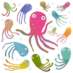 Colorful Octopus Isolated on White Cartoon Clip Art Collection