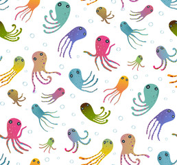 Colorful Kids Cartoon Octopus Seamless Pattern Background