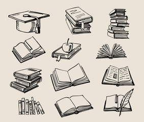 Books stack sketch