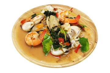 Stir fried spicy seafood with mixed herbs, Thai food
