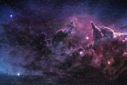 purple nebula and cosmic dust in star field