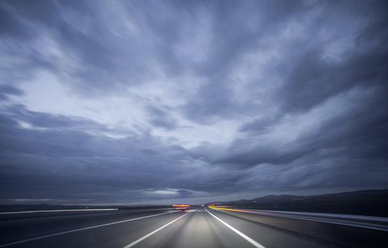 Night driving, blurred shot
