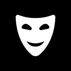 The smiling mask icon. Comedy and theater symbol. Flat