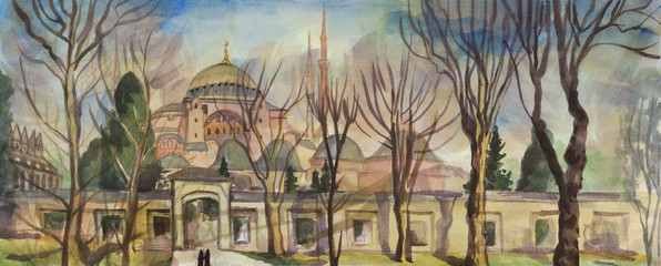 Istanbul. The Hagia Sophia. Watercolor painting