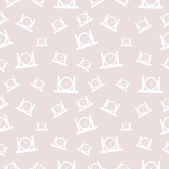 Seamless vector pattern, light pastel shadeless chaotic background with scissors