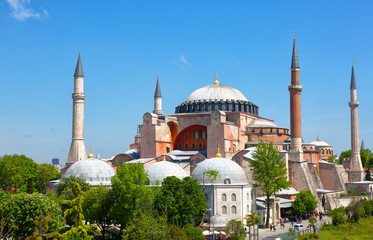 Hagia Sophia on a sunny summer day, Istanbul, Turkey