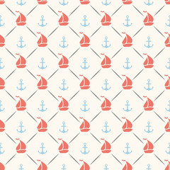 Seamless pattern of anchor, sailboat shape and line