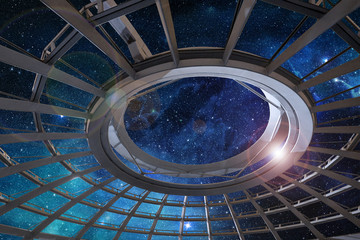 glass dome of astronomical observatory under a starry sky Wall mural