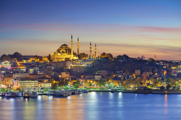 Istanbul. Image of Istanbul with Suleymaniye Mosque during sunset.
